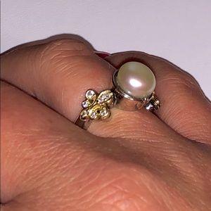 Vintage Lagos pearl & diamond 18kYG & 925 Ring